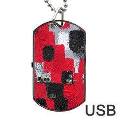 Red Black Gray Background Dog Tag Usb Flash (one Side) by Simbadda