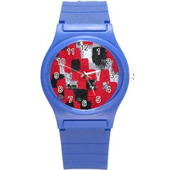 Red Black Gray Background Round Plastic Sport Watch (s) by Simbadda