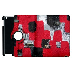 Red Black Gray Background Apple Ipad 2 Flip 360 Case by Simbadda