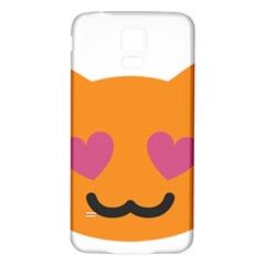 Smile Face Cat Orange Heart Love Emoji Samsung Galaxy S5 Back Case (white) by Alisyart
