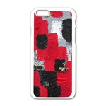 Red Black Gray Background Apple iPhone 6/6S White Enamel Case Front