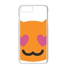 Smile Face Cat Orange Heart Love Emoji Apple Iphone 7 Plus White Seamless Case by Alisyart