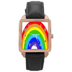 Rainbow Rose Gold Leather Watch  by Alisyart