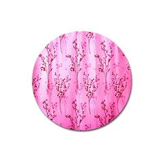 Pink Curtains Background Magnet 3  (round) by Simbadda