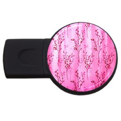 Pink Curtains Background Usb Flash Drive Round (2 Gb) by Simbadda