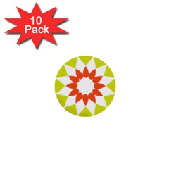 Tikiwiki Abstract Element Flower Star Red Green 1  Mini Buttons (10 Pack)  by Alisyart