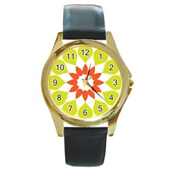 Tikiwiki Abstract Element Flower Star Red Green Round Gold Metal Watch by Alisyart