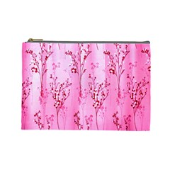 Pink Curtains Background Cosmetic Bag (large)  by Simbadda