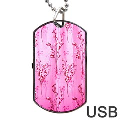 Pink Curtains Background Dog Tag Usb Flash (one Side) by Simbadda