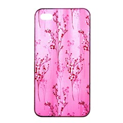 Pink Curtains Background Apple Iphone 4/4s Seamless Case (black) by Simbadda