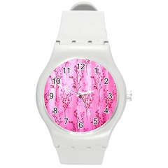 Pink Curtains Background Round Plastic Sport Watch (m) by Simbadda