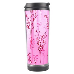 Pink Curtains Background Travel Tumbler by Simbadda