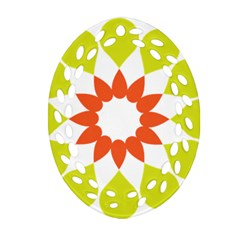 Tikiwiki Abstract Element Flower Star Red Green Ornament (oval Filigree) by Alisyart