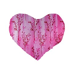 Pink Curtains Background Standard 16  Premium Flano Heart Shape Cushions by Simbadda
