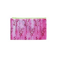 Pink Curtains Background Cosmetic Bag (xs) by Simbadda