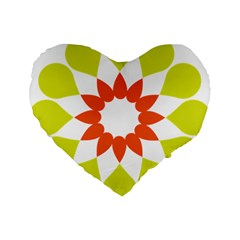 Tikiwiki Abstract Element Flower Star Red Green Standard 16  Premium Flano Heart Shape Cushions by Alisyart