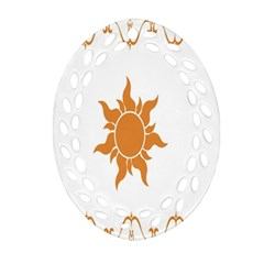Sunlight Sun Orange Ornament (oval Filigree) by Alisyart