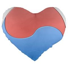 Taekwondo Sign Red Blue Large 19  Premium Heart Shape Cushions by Alisyart
