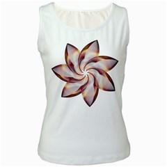 Prismatic Flower Line Gold Star Floral Women s White Tank Top by Alisyart