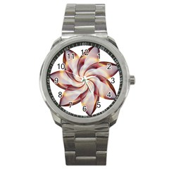 Prismatic Flower Line Gold Star Floral Sport Metal Watch by Alisyart
