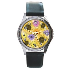 Multi Flower Line Drawing Round Metal Watch by Simbadda