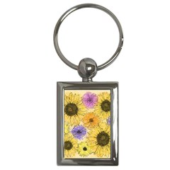 Multi Flower Line Drawing Key Chains (rectangle)