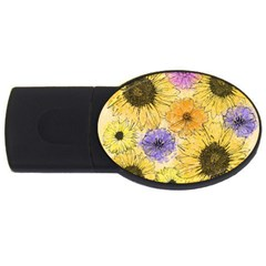 Multi Flower Line Drawing Usb Flash Drive Oval (4 Gb) by Simbadda