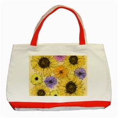 Multi Flower Line Drawing Classic Tote Bag (red) by Simbadda