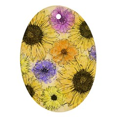 Multi Flower Line Drawing Oval Ornament (Two Sides)