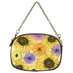 Multi Flower Line Drawing Chain Purses (two Sides)  by Simbadda