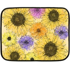 Multi Flower Line Drawing Fleece Blanket (mini) by Simbadda