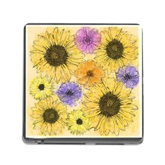Multi Flower Line Drawing Memory Card Reader (square) by Simbadda