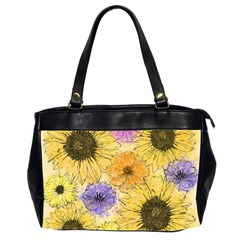 Multi Flower Line Drawing Office Handbags (2 Sides)  by Simbadda