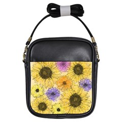 Multi Flower Line Drawing Girls Sling Bags by Simbadda