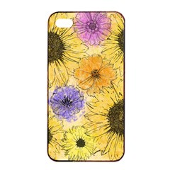 Multi Flower Line Drawing Apple Iphone 4/4s Seamless Case (black) by Simbadda