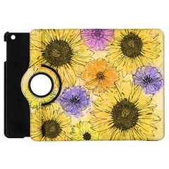 Multi Flower Line Drawing Apple Ipad Mini Flip 360 Case by Simbadda