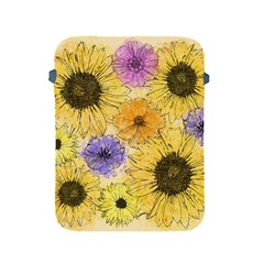 Multi Flower Line Drawing Apple Ipad 2/3/4 Protective Soft Cases by Simbadda