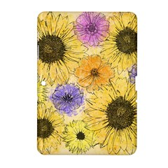 Multi Flower Line Drawing Samsung Galaxy Tab 2 (10 1 ) P5100 Hardshell Case  by Simbadda