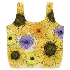 Multi Flower Line Drawing Full Print Recycle Bags (l)  by Simbadda
