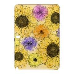 Multi Flower Line Drawing Samsung Galaxy Tab Pro 10 1 Hardshell Case by Simbadda