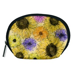 Multi Flower Line Drawing Accessory Pouches (medium)  by Simbadda