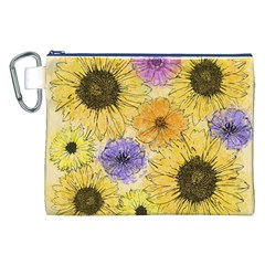 Multi Flower Line Drawing Canvas Cosmetic Bag (xxl) by Simbadda