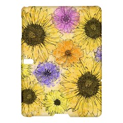 Multi Flower Line Drawing Samsung Galaxy Tab S (10 5 ) Hardshell Case  by Simbadda