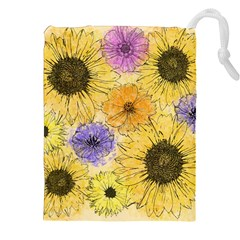 Multi Flower Line Drawing Drawstring Pouches (xxl)