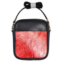 Pink Fur Background Girls Sling Bags by Simbadda