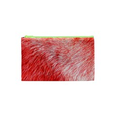 Pink Fur Background Cosmetic Bag (xs) by Simbadda