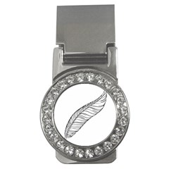 Feather Line Art Money Clips (cz)  by Simbadda
