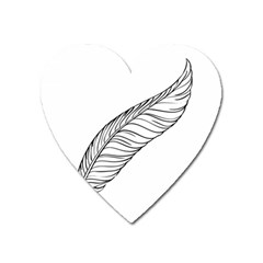 Feather Line Art Heart Magnet by Simbadda