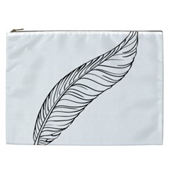Feather Line Art Cosmetic Bag (xxl)  by Simbadda