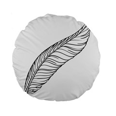 Feather Line Art Standard 15  Premium Round Cushions by Simbadda